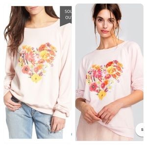 NWT! Wildfox Blooming Heart Pullover